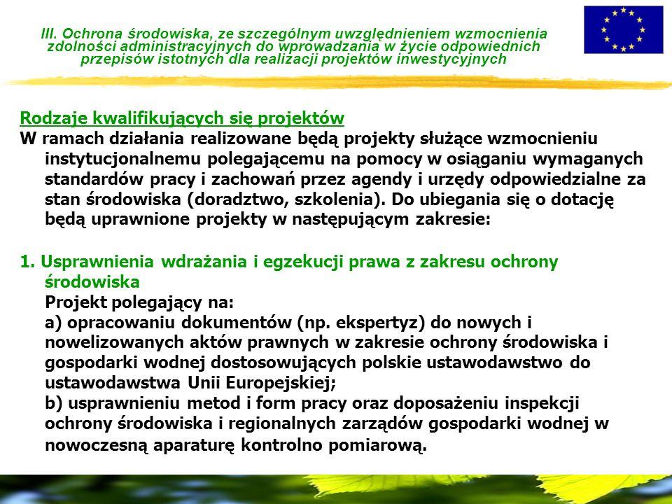 III. Ochrona środowiska, ze szczególnym uwzględnieniem wzmocnienia zdolności administracyjnych do wprowadzania w życie odpowiednich przepisów istotnyc
