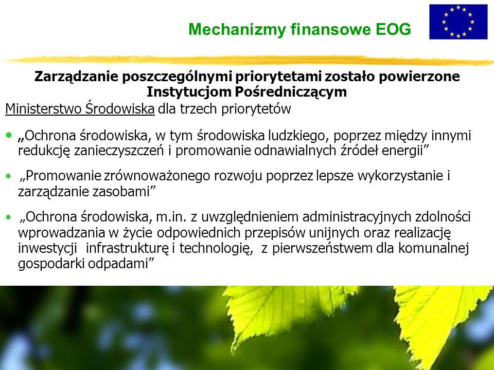 """Zarządzanie poszczególnymi priorytetami zostało powierzone Instytucjom Pośredniczącym Ministerstwo Środowiska dla trzech priorytetów """" Ochrona środowiska, w tym środowiska ludzkiego, poprzez między innymi redukcję zanieczyszczeń i promowanie odnawialnych źródeł energii """"Promowanie zrównoważonego rozwoju poprzez lepsze wykorzystanie i zarządzanie zasobami """"Ochrona środowiska, m.in."""