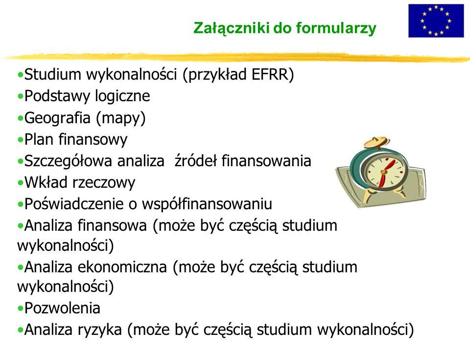 Załączniki do formularzy Studium wykonalności (przykład EFRR) Podstawy logiczne Geografia (mapy) Plan finansowy Szczegółowa analiza źródeł finansowania Wkład rzeczowy Poświadczenie o współfinansowaniu Analiza finansowa (może być częścią studium wykonalności) Analiza ekonomiczna (może być częścią studium wykonalności) Pozwolenia Analiza ryzyka (może być częścią studium wykonalności)