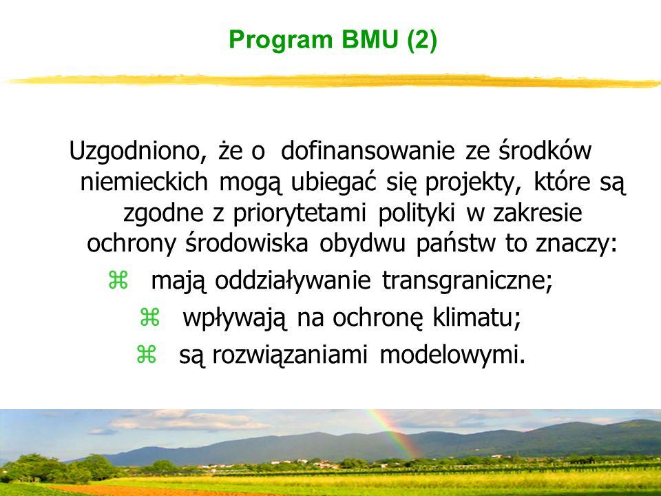 Program BMU (2) Uzgodniono, że o dofinansowanie ze środków niemieckich mogą ubiegać się projekty, które są zgodne z priorytetami polityki w zakresie ochrony środowiska obydwu państw to znaczy: zmają oddziaływanie transgraniczne; zwpływają na ochronę klimatu; zsą rozwiązaniami modelowymi.