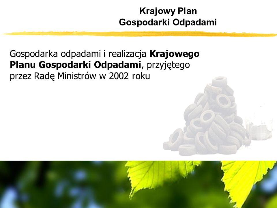Krajowy Plan Gospodarki Odpadami Gospodarka odpadami i realizacja Krajowego Planu Gospodarki Odpadami, przyjętego przez Radę Ministrów w 2002 roku