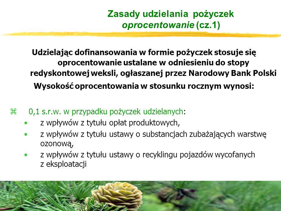 Zasady udzielania pożyczek oprocentowanie (cz.1) Udzielając dofinansowania w formie pożyczek stosuje się oprocentowanie ustalane w odniesieniu do stopy redyskontowej weksli, ogłaszanej przez Narodowy Bank Polski Wysokość oprocentowania w stosunku rocznym wynosi: z0,1 s.r.w.
