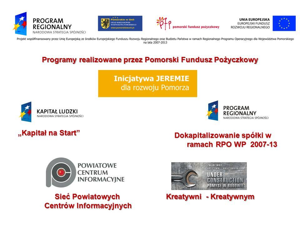 """Programy realizowane przez Pomorski Fundusz Pożyczkowy """"Kapitał na Start"""" Dokapitalizowanie spółki w ramach RPO WP 2007-13 ramach RPO WP 2007-13 Sieć"""