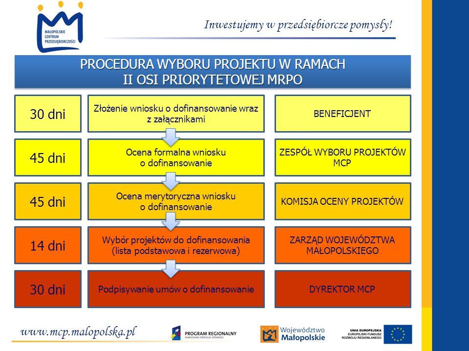 www.mcp.malopolska.pl Inwestujemy w przedsiębiorcze pomysły! PROCEDURA WYBORU PROJEKTU W RAMACH II OSI PRIORYTETOWEJ MRPO PROCEDURA WYBORU PROJEKTU W