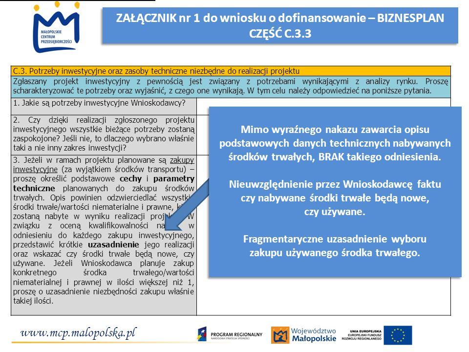 www.mcp.malopolska.pl ZAŁĄCZNIK nr 1 do wniosku o dofinansowanie – BIZNESPLAN CZĘŚĆ C.3.3 ZAŁĄCZNIK nr 1 do wniosku o dofinansowanie – BIZNESPLAN CZĘŚ