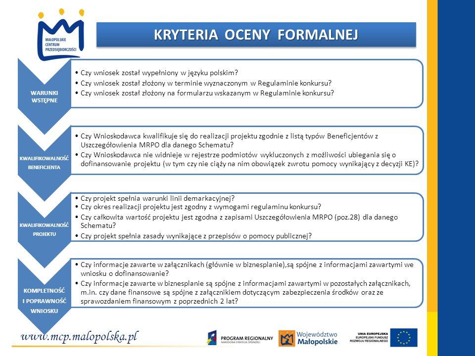 www.mcp.malopolska.pl KRYTERIA OCENY FORMALNEJ WARUNKI WSTĘPNE Czy wniosek został wypełniony w języku polskim? Czy wniosek został złożony w terminie w