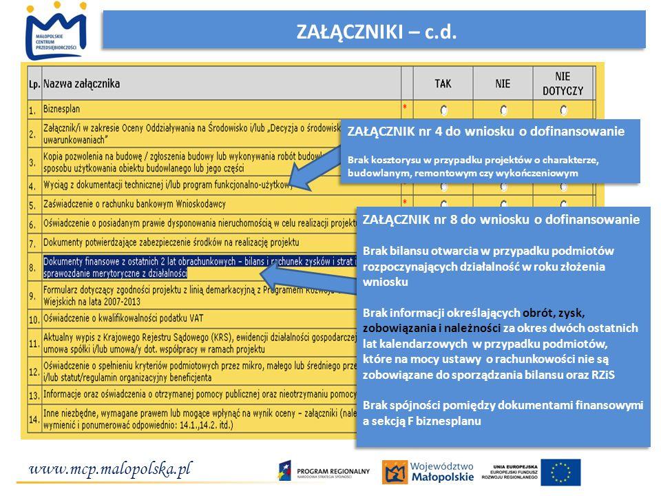 www.mcp.malopolska.pl ZAŁĄCZNIKI – c.d. ZAŁĄCZNIK nr 8 do wniosku o dofinansowanie Brak bilansu otwarcia w przypadku podmiotów rozpoczynających działa