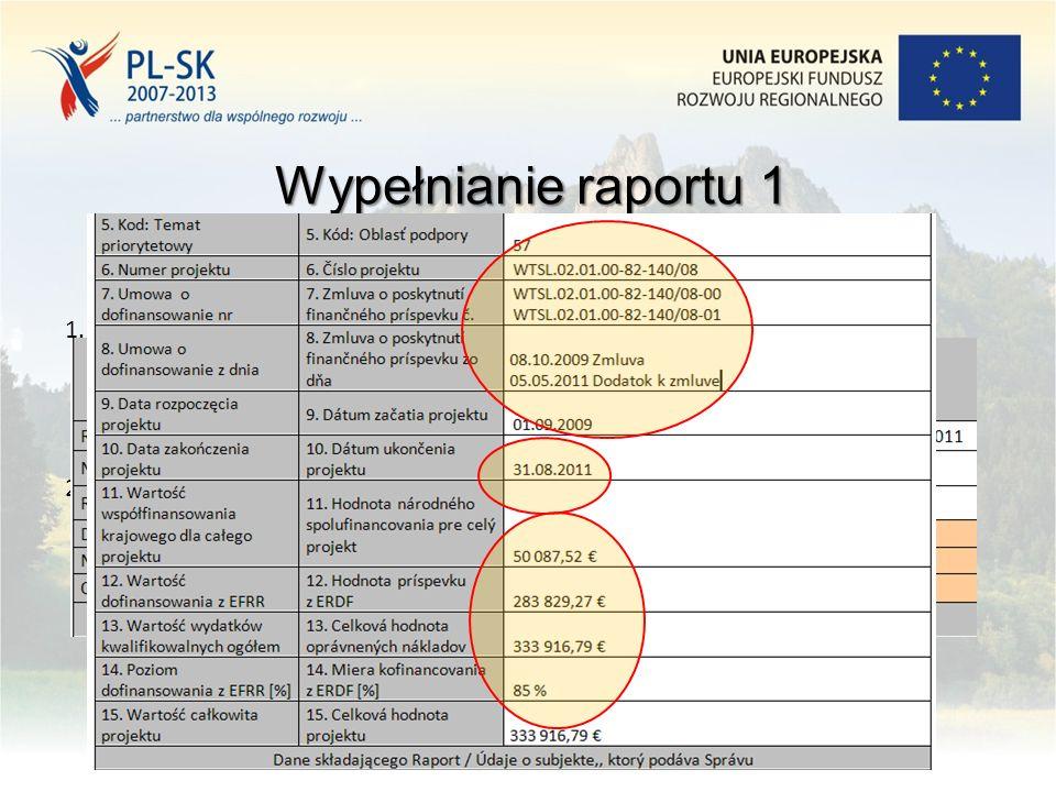 9 1.Na pierwszej stronie raportu: numer raportu, aktualne dane – po wprowadzeniu zmian/podpisaniu aneksu do umowy o dofinansowaniu 2.Osoba do kontaktu