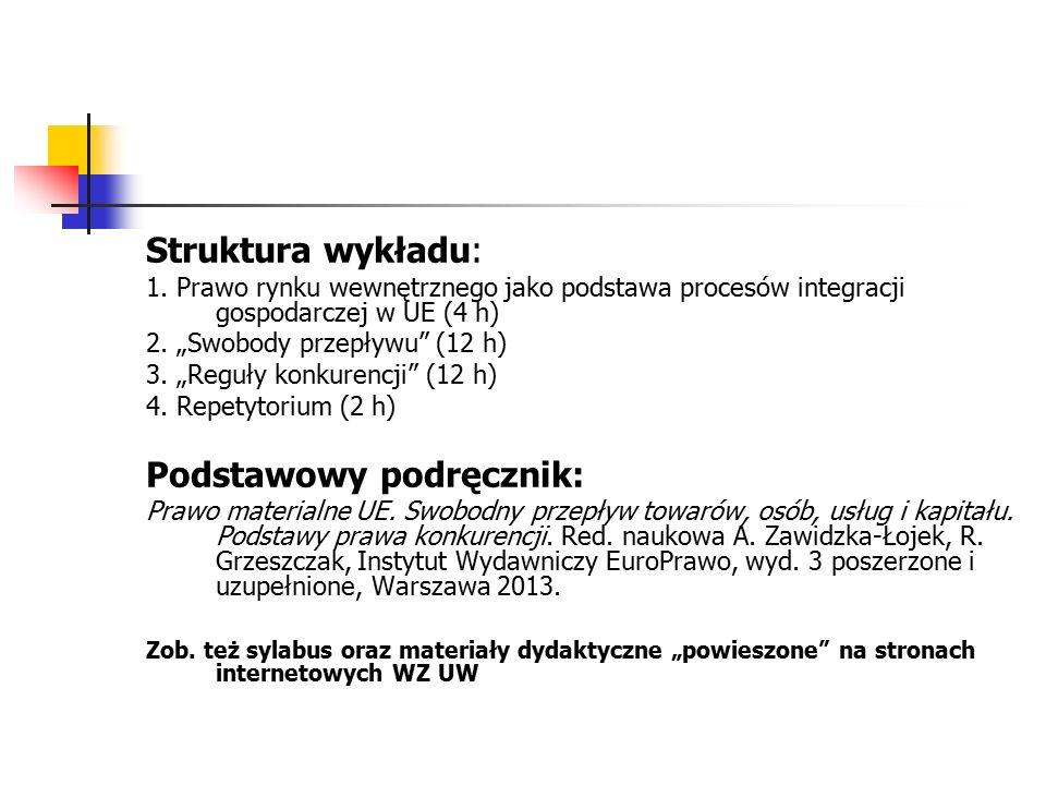 """Struktura wykładu: 1. Prawo rynku wewnętrznego jako podstawa procesów integracji gospodarczej w UE (4 h) 2. """"Swobody przepływu"""" (12 h) 3. """"Reguły konk"""
