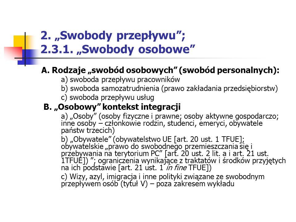 """2. """"Swobody przepływu""""; 2.3.1. """"Swobody osobowe"""" A. Rodzaje """"swobód osobowych"""" (swobód personalnych): a) swoboda przepływu pracowników b) swoboda samo"""