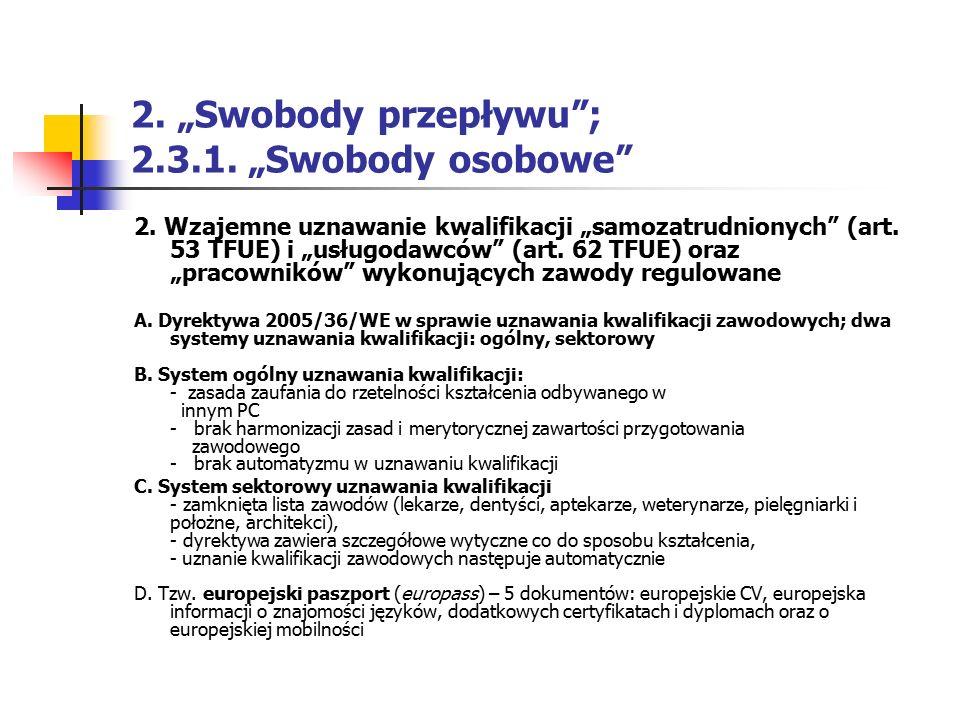 """2. """"Swobody przepływu""""; 2.3.1. """"Swobody osobowe"""" 2. Wzajemne uznawanie kwalifikacji """"samozatrudnionych"""" (art. 53 TFUE) i """"usługodawców"""" (art. 62 TFUE)"""