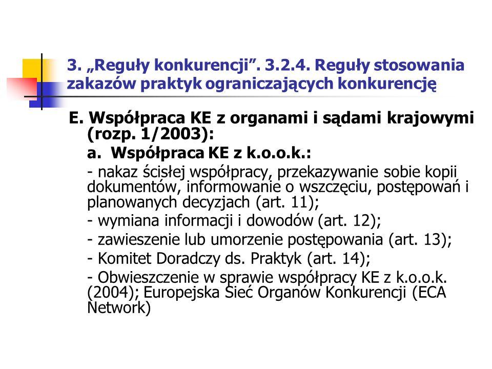 """3. """"Reguły konkurencji"""". 3.2.4. Reguły stosowania zakazów praktyk ograniczających konkurencję E. Współpraca KE z organami i sądami krajowymi (rozp. 1/"""