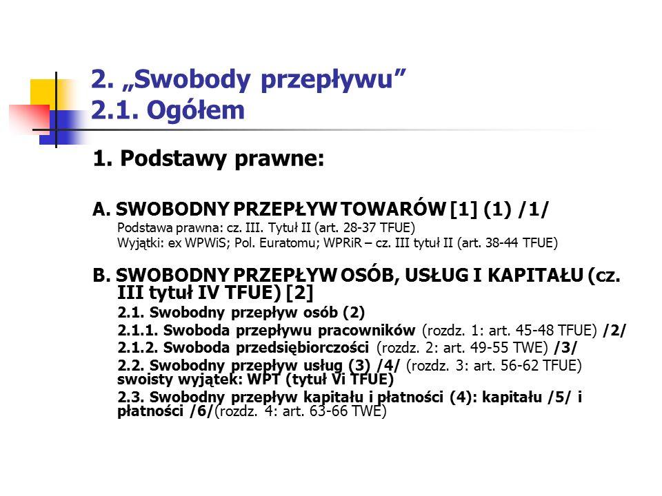 """2. """"Swobody przepływu"""" 2.1. Ogółem 1. Podstawy prawne: A. SWOBODNY PRZEPŁYW TOWARÓW [1] (1) /1/ Podstawa prawna: cz. III. Tytuł II (art. 28-37 TFUE) W"""