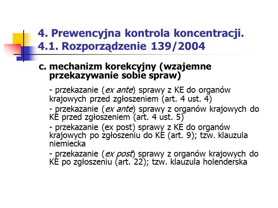 4. Prewencyjna kontrola koncentracji. 4.1. Rozporządzenie 139/2004 c. mechanizm korekcyjny (wzajemne przekazywanie sobie spraw) - przekazanie (ex ante