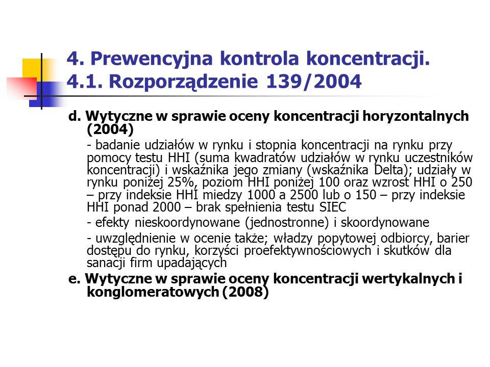4. Prewencyjna kontrola koncentracji. 4.1. Rozporządzenie 139/2004 d. Wytyczne w sprawie oceny koncentracji horyzontalnych (2004) - badanie udziałów w