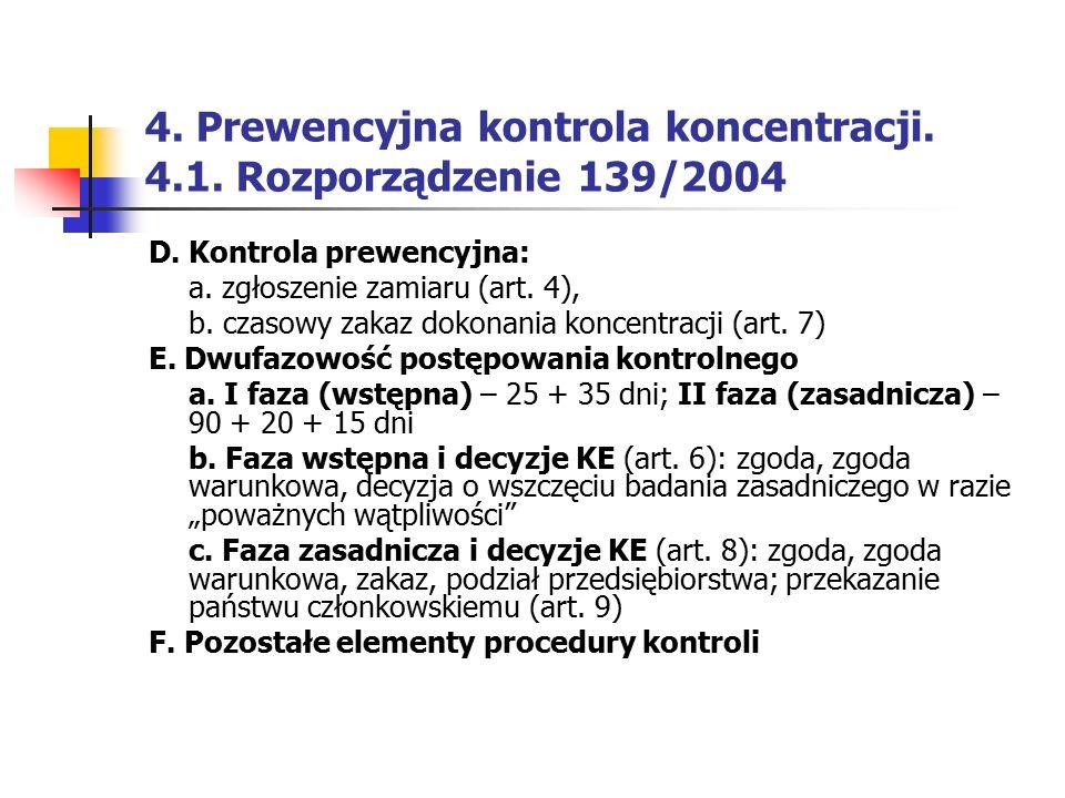 4. Prewencyjna kontrola koncentracji. 4.1. Rozporządzenie 139/2004 D. Kontrola prewencyjna: a. zgłoszenie zamiaru (art. 4), b. czasowy zakaz dokonania