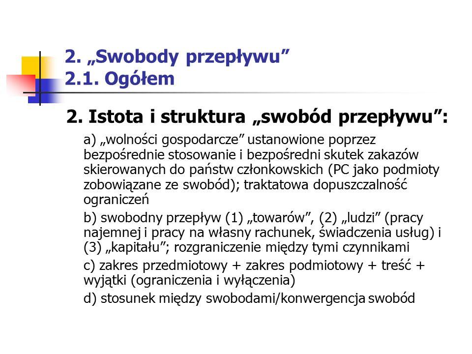 """2. """"Swobody przepływu"""" 2.1. Ogółem 2. Istota i struktura """"swobód przepływu"""": a) """"wolności gospodarcze"""" ustanowione poprzez bezpośrednie stosowanie i b"""