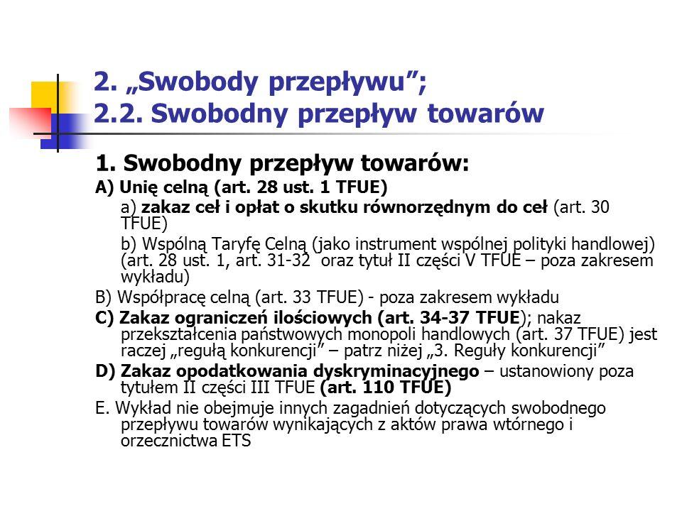 """2. """"Swobody przepływu""""; 2.2. Swobodny przepływ towarów 1. Swobodny przepływ towarów: A) Unię celną (art. 28 ust. 1 TFUE) a) zakaz ceł i opłat o skutku"""