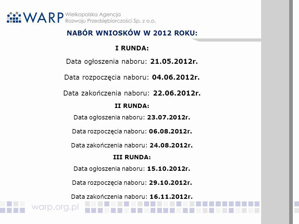 NABÓR WNIOSKÓW W 2012 ROKU: I RUNDA: Data ogłoszenia naboru: 21.05.2012r. Data rozpoczęcia naboru: 04.06.2012r. Data zakończenia naboru: 22.06.2012r.