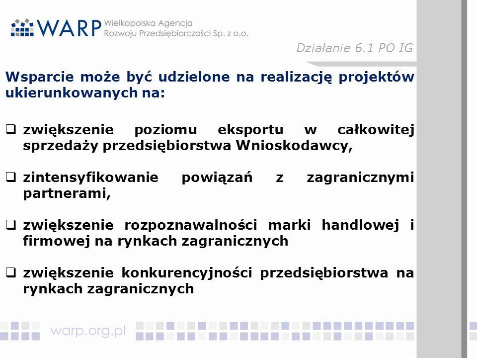 """W zakresie działania, o którym mowa w § 45 pkt 2: """"organizacja i udział w misjach gospodarczych za granicą a)zakup usługi polegającej na zorganizowaniu misji, b)zakup usługi polegającej na organizacji spotkań z potencjalnymi partnerami handlowymi, c)zakup usług doradczych w zakresie określenia potencjalnych partnerów handlowych, przygotowania ofert współpracy oraz negocjacji handlowych, Działanie 6.1 PO IG"""