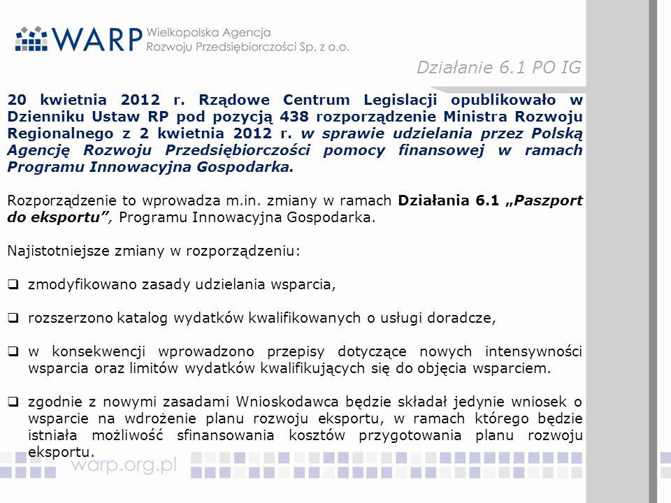 20 kwietnia 2012 r. Rządowe Centrum Legislacji opublikowało w Dzienniku Ustaw RP pod pozycją 438 rozporządzenie Ministra Rozwoju Regionalnego z 2 kwie
