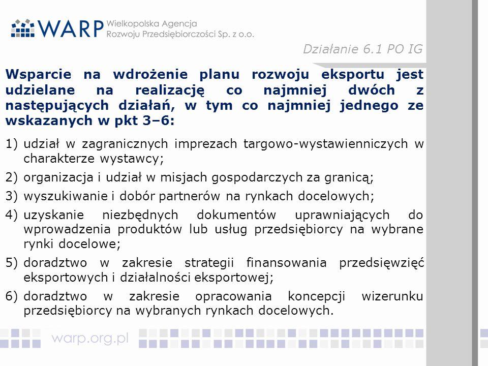 Wsparcie na wdrożenie planu rozwoju eksportu jest udzielane na realizację co najmniej dwóch z następujących działań, w tym co najmniej jednego ze wskazanych w pkt 3–6: 1)udział w zagranicznych imprezach targowo-wystawienniczych w charakterze wystawcy; 2)organizacja i udział w misjach gospodarczych za granicą; 3)wyszukiwanie i dobór partnerów na rynkach docelowych; 4)uzyskanie niezbędnych dokumentów uprawniających do wprowadzenia produktów lub usług przedsiębiorcy na wybrane rynki docelowe; 5)doradztwo w zakresie strategii finansowania przedsięwzięć eksportowych i działalności eksportowej; 6)doradztwo w zakresie opracowania koncepcji wizerunku przedsiębiorcy na wybranych rynkach docelowych.