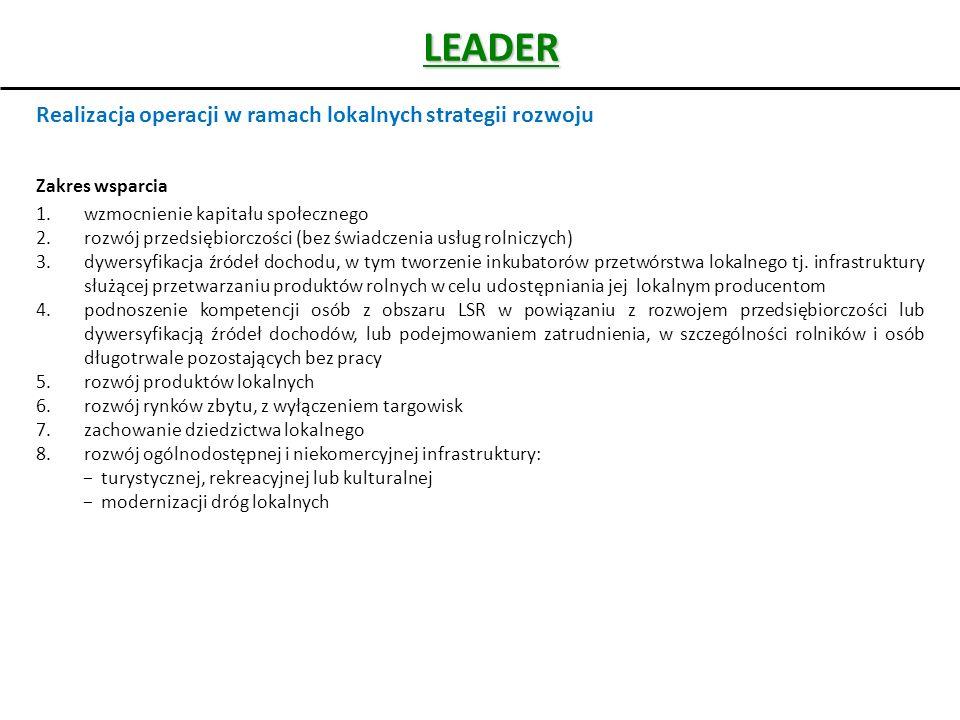 LEADER Realizacja operacji w ramach lokalnych strategii rozwoju Zakres wsparcia 1.wzmocnienie kapitału społecznego 2.rozwój przedsiębiorczości (bez św