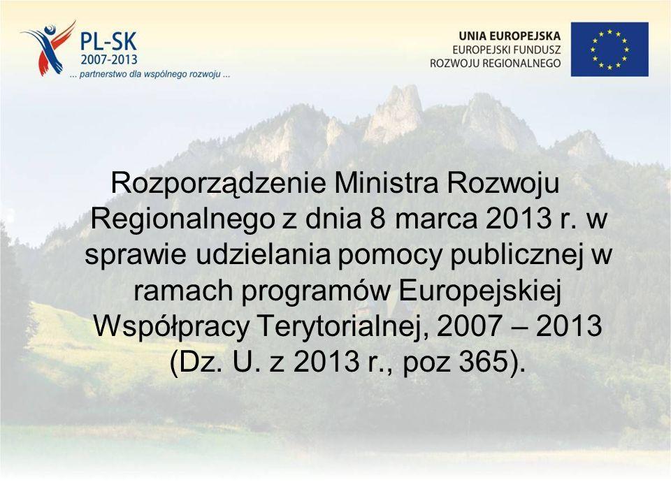 Rozporządzenie Ministra Rozwoju Regionalnego z dnia 8 marca 2013 r.