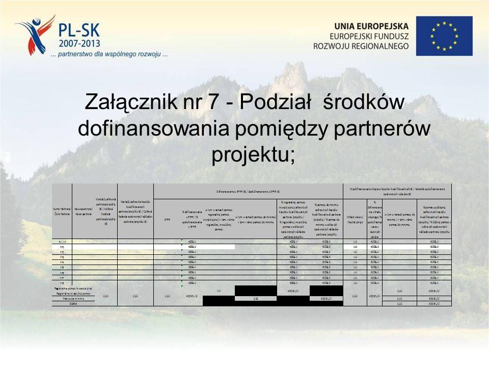 Załącznik nr 7 - Podział środków dofinansowania pomiędzy partnerów projektu;