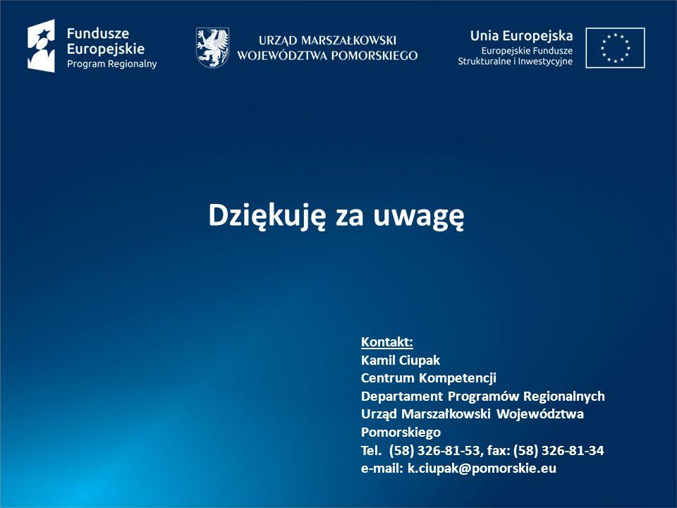 Dziękuję za uwagę Kontakt: Kamil Ciupak Centrum Kompetencji Departament Programów Regionalnych Urząd Marszałkowski Województwa Pomorskiego Tel.