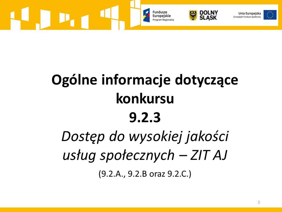 Alokacja środków europejskich przeznaczona na konkurs wynosi: 4 279 726,00 PLN dla ZIT AJ Maksymalny dopuszczalny poziom dofinansowania UE wydatków kwalifikowalnych na poziomie projektu, zarówno dla typu operacji 9.2.A., 9.2.B., jak i 9.2.C.