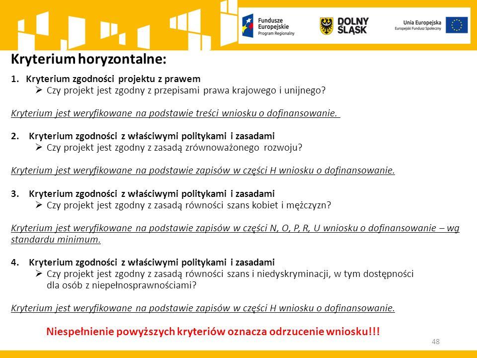 Kryterium horyzontalne: 1.Kryterium zgodności projektu z prawem  Czy projekt jest zgodny z przepisami prawa krajowego i unijnego.