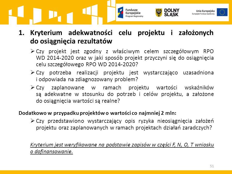 1.Kryterium adekwatności celu projektu i założonych do osiągnięcia rezultatów  Czy projekt jest zgodny z właściwym celem szczegółowym RPO WD 2014-2020 oraz w jaki sposób projekt przyczyni się do osiągnięcia celu szczegółowego RPO WD 2014-2020.