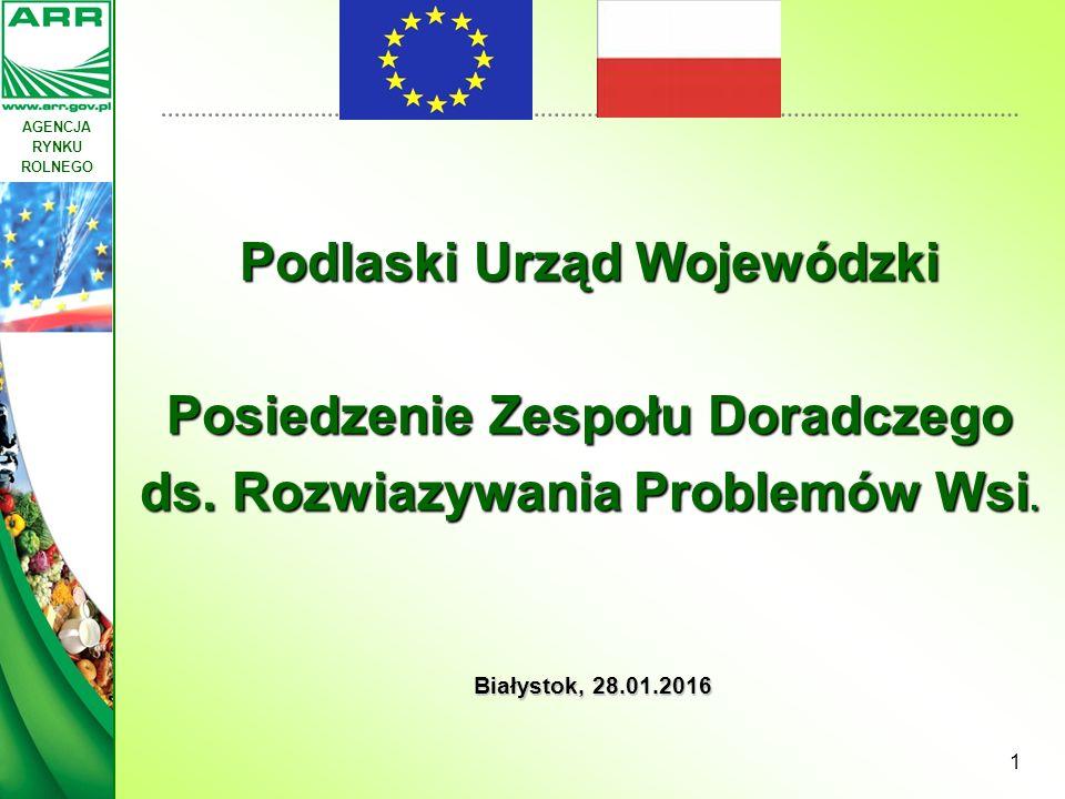 AGENCJA RYNKU ROLNEGO 1 Białystok, 28.01.2016 Podlaski Urząd Wojewódzki Posiedzenie Zespołu Doradczego ds. Rozwiazywania Problemów Wsi.