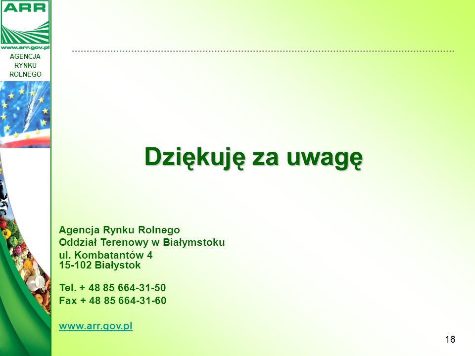 AGENCJA RYNKU ROLNEGO 16 Dziękuję za uwagę Agencja Rynku Rolnego Oddział Terenowy w Białymstoku ul. Kombatantów 4 15-102 Białystok Tel. + 48 85 664-31