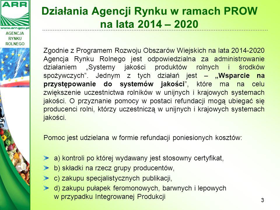 AGENCJA RYNKU ROLNEGO Działania Agencji Rynku Rolnego w ramach PROW na lata 2014 – 2020 Wparcie będzie udzielane w okresie 3 lat od przystąpienia do systemu jakości.