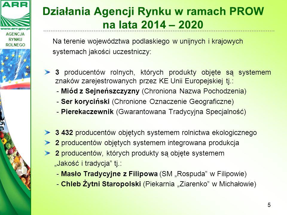 """AGENCJA RYNKU ROLNEGO Działania Agencji Rynku w ramach PROW na lata 2014 – 2020 Drugim poddziałaniem w """"Systemach jakości produktów rolnych i środków spożywczych jest: """"Wsparcie działań informacyjnych i promocyjnych realizowanych przez grupy producentów na rynku wewnętrznym obejmujące wsparcie akcji w zakresie informacji i promocji produktów wysokojakościowych podejmowanych przez uczestników systemów jakości."""