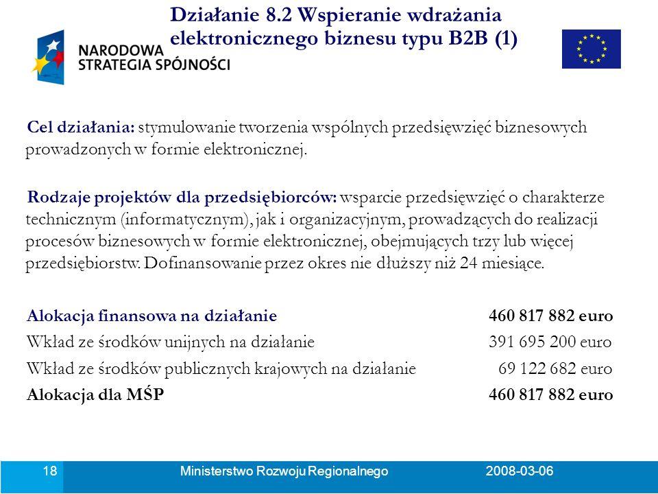 Ministerstwo Rozwoju Regionalnego2008-03-0618 Działanie 8.2 Wspieranie wdrażania elektronicznego biznesu typu B2B (1) Cel działania: stymulowanie tworzenia wspólnych przedsięwzięć biznesowych prowadzonych w formie elektronicznej.