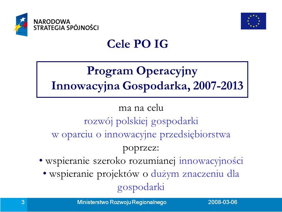 Ministerstwo Rozwoju Regionalnego2008-03-0614 Działanie 4.4 Nowe inwestycje o wysokim potencjale innowacyjnym (1) Cel działania: wsparcie przedsiębiorstw produkcyjnych i usługowych dokonujących nowych inwestycji oraz niezbędnych dla ich realizacji projektów doradczych i szkoleniowych, obejmujących nabycie innowacyjnych rozwiązań technologicznych, których innowacyjność będzie mierzona poprzez czas ich stosowania na świecie (nie dłużej niż 3 lata) lub poprzez stopień ich rozprzestrzenienia na świecie w danej branży (nie więcej niż 15%).