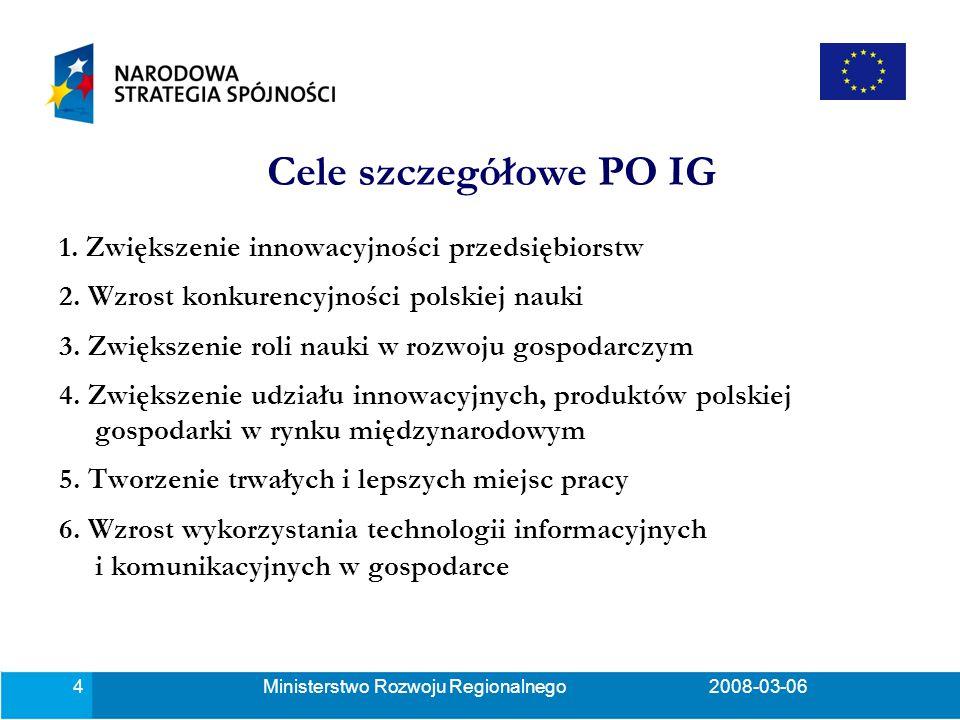 Ministerstwo Rozwoju Regionalnego2008-03-0615 Wartość projektu: wartość wydatków kwalifikowalnych co najmniej 8 mln PLN i nie więcej niż 160 mln PLN.