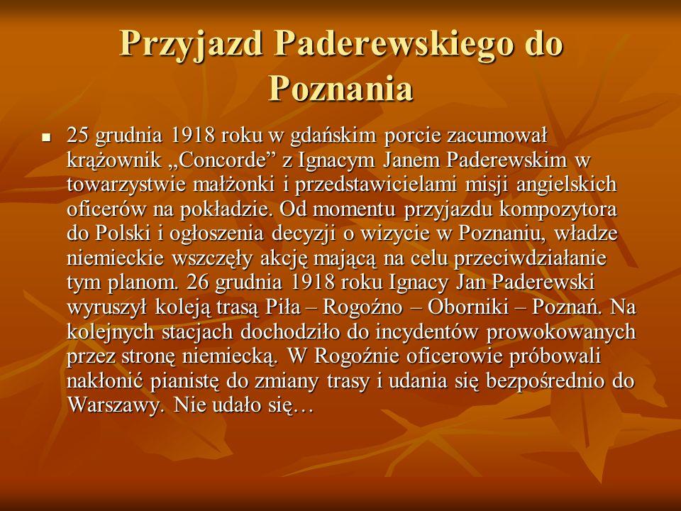 """Przyjazd Paderewskiego do Poznania 25 grudnia 1918 roku w gdańskim porcie zacumował krążownik """"Concorde"""" z Ignacym Janem Paderewskim w towarzystwie ma"""