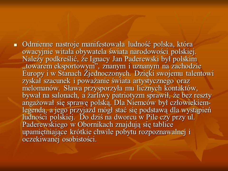 Odmienne nastroje manifestowała ludność polska, która owacyjnie witała obywatela świata narodowości polskiej. Należy podkreślić, że Ignacy Jan Paderew