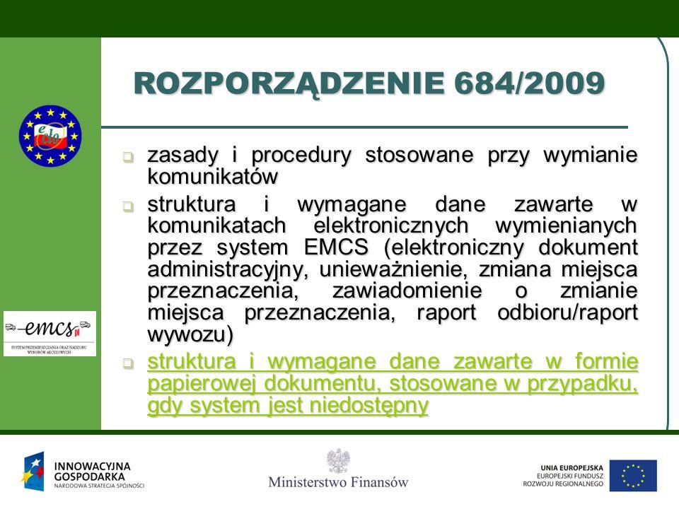  zasady i procedury stosowane przy wymianie komunikatów  struktura i wymagane dane zawarte w komunikatach elektronicznych wymienianych przez system EMCS (elektroniczny dokument administracyjny, unieważnienie, zmiana miejsca przeznaczenia, zawiadomienie o zmianie miejsca przeznaczenia, raport odbioru/raport wywozu)  struktura i wymagane dane zawarte w formie papierowej dokumentu, stosowane w przypadku, gdy system jest niedostępny struktura i wymagane dane zawarte w formie papierowej dokumentu, stosowane w przypadku, gdy system jest niedostępny struktura i wymagane dane zawarte w formie papierowej dokumentu, stosowane w przypadku, gdy system jest niedostępny ROZPORZĄDZENIE 684/2009
