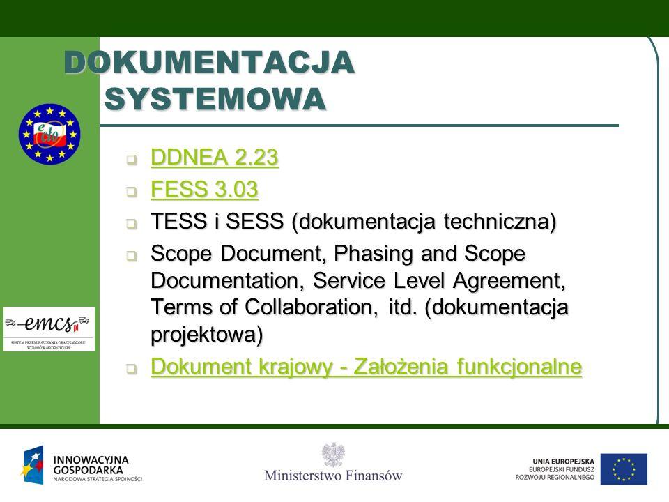 DOKUMENTACJA SYSTEMOWA  DDNEA 2.23 DDNEA 2.23 DDNEA 2.23  FESS 3.03 FESS 3.03 FESS 3.03  TESS i SESS (dokumentacja techniczna)  Scope Document, Phasing and Scope Documentation, Service Level Agreement, Terms of Collaboration, itd.