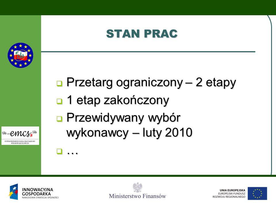 STAN PRAC  Przetarg ograniczony – 2 etapy  1 etap zakończony  Przewidywany wybór wykonawcy – luty 2010 …………