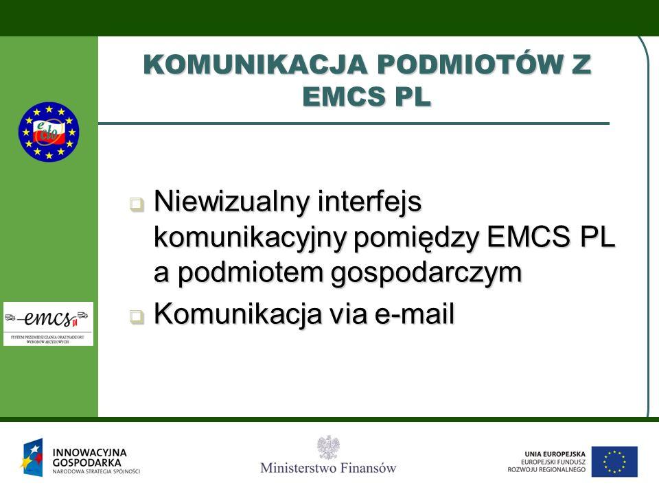 KOMUNIKACJA PODMIOTÓW Z EMCS PL  Niewizualny interfejs komunikacyjny pomiędzy EMCS PL a podmiotem gospodarczym  Komunikacja via e-mail