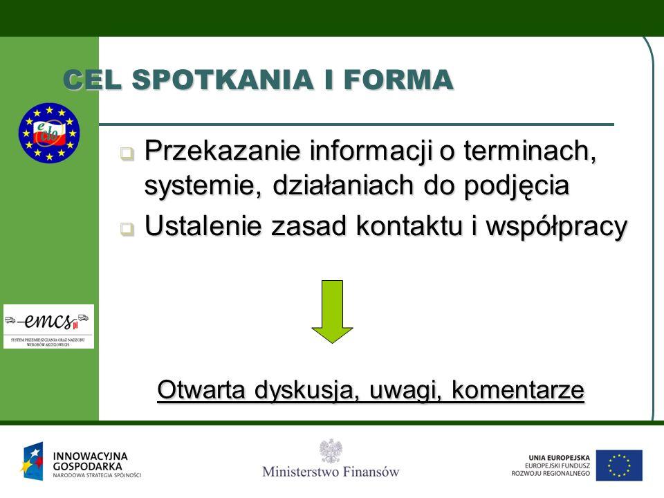 CEL SPOTKANIA I FORMA  Przekazanie informacji o terminach, systemie, działaniach do podjęcia  Ustalenie zasad kontaktu i współpracy Otwarta dyskusja