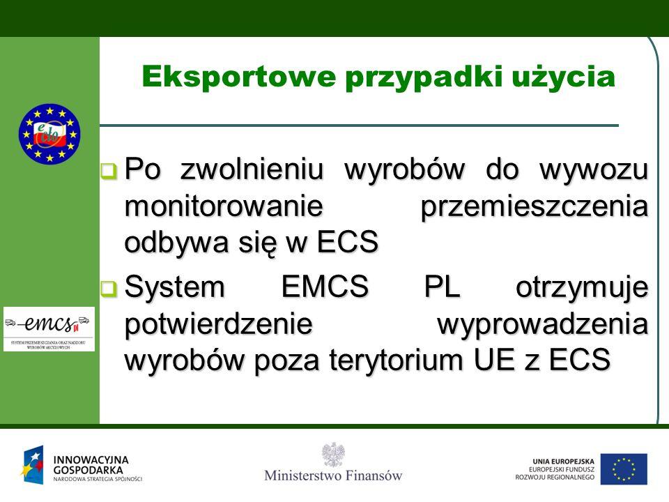 Eksportowe przypadki użycia  Po zwolnieniu wyrobów do wywozu monitorowanie przemieszczenia odbywa się w ECS  System EMCS PL otrzymuje potwierdzenie