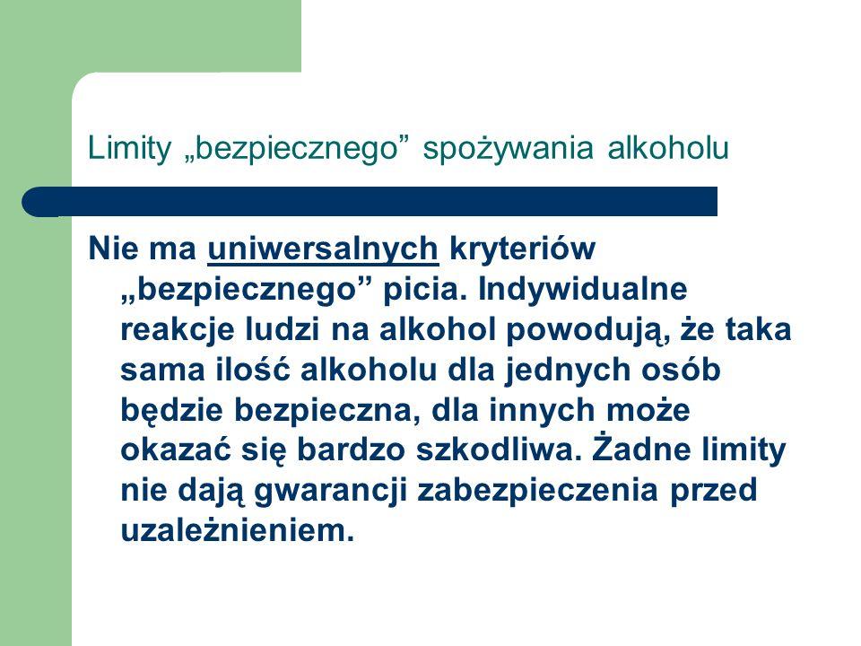 """Limity """"bezpiecznego"""" spożywania alkoholu Nie ma uniwersalnych kryteriów """"bezpiecznego"""" picia. Indywidualne reakcje ludzi na alkohol powodują, że taka"""