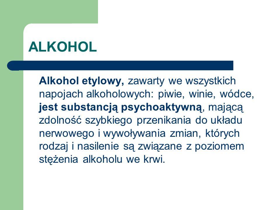 ALKOHOL Wbrew powszechnej opinii alkohol jest substancją tłumiącą (działającą depresyjnie), a odczuwane pobudzenie po spożyciu alkoholu jest przejściowe i związane z hamowaniem mechanizmów kontrolujących, co skutkuje zaburzeniem krytycyzmu i samokontroli oraz gwałtownymi wahaniami nastroju.